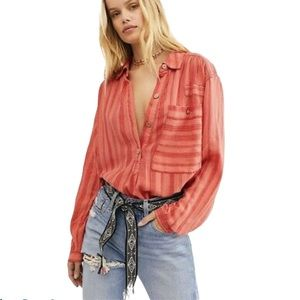 WE THE FREE Summer Breeze Coral Stripe Top Tunic S